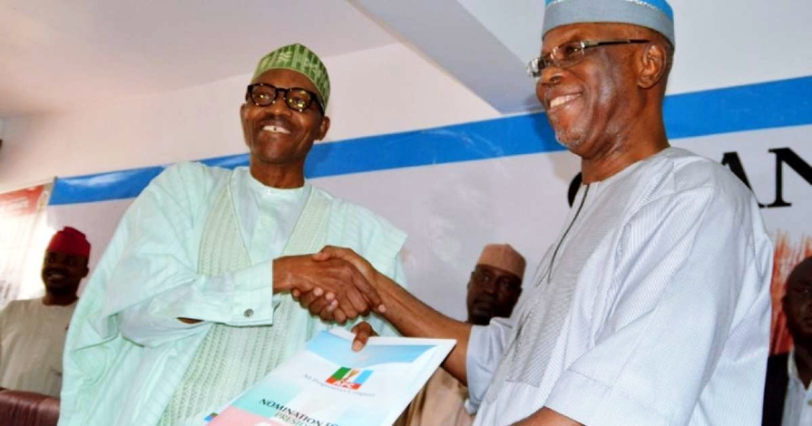 President Muhammadu Buhari in a Warm HandShake with APC National Chairman, Chief John Odigie-Oyegun