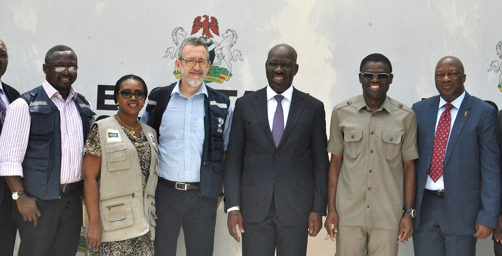 L-R: Coordinator for the Lassa Fever Outbreak Response Team to Nigeria/ Representative, World Health Organisation (WHO), Dr. Emmanuel Musa; Representative, Nigeria Centre for Disease Control (NCDC), Mrs. Elsie Ilori; Member, WHO Team, Pierre Formenty; Edo State Governor, Godwin Obaseki; his Deputy, Rt. Hon. Comrade Philip Shaibu and the Secretary to the State Government (SSG), Osarodion Ogie Esq., after the courtesy visit of the surveillance team from the WHO and NCDC at the Government House, Benin City, on Monday, February 19, 2018.