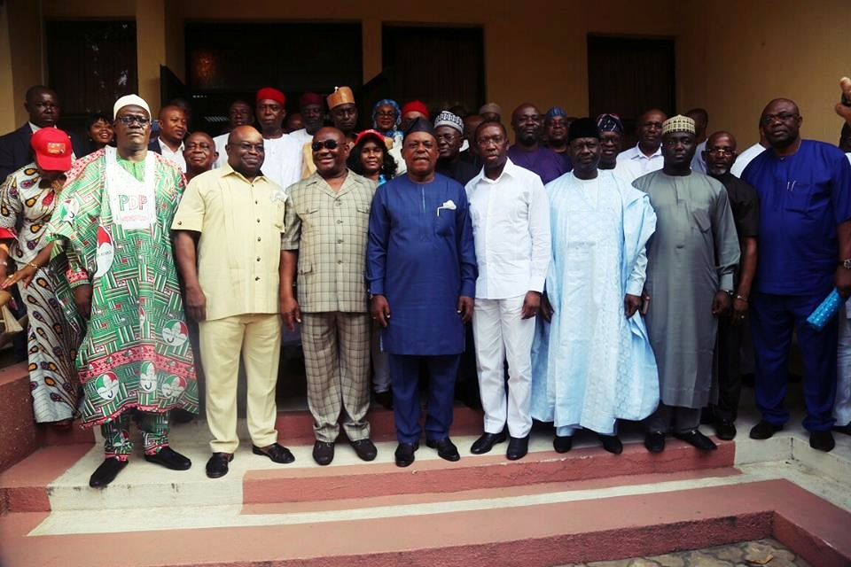 PDP National Chairman, Prince Uche Secondus (Middle) Flanked by PDP Governors and Top Party Officials During a Meeting in Delta State
