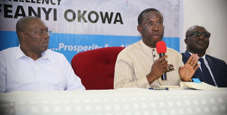 Delta State Governor, Senator Ifeanyi Okowa (middle); his Deputy, Barr. Kingsley Otuaro (left) and Commissioner for Information, Mr. Patrick Ukah, during the 2018 Quarterly Media Interaction with the Governor, in Government House Asaba.