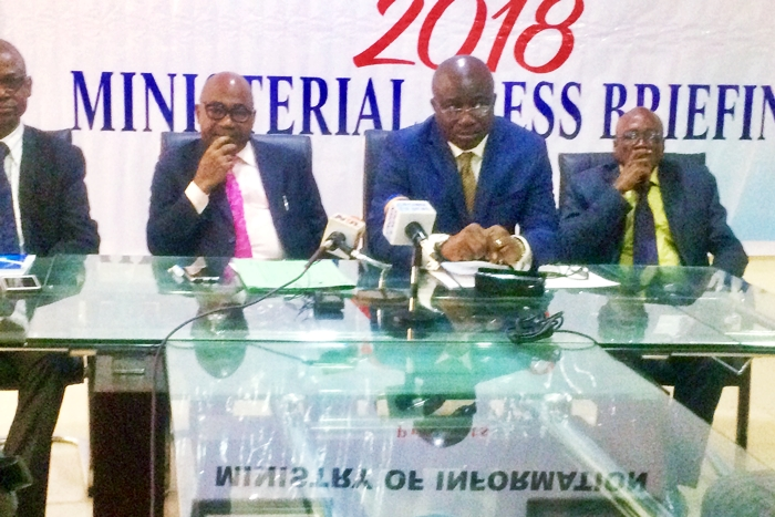 Delta State SSG, Festus Ovie Agas and Information Commissioner, Patrick Ukah during the 2018 Ministerial Press Briefing