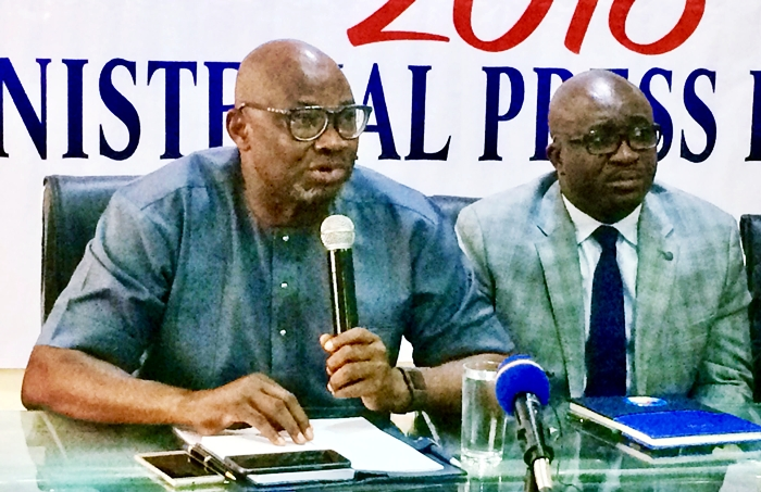 Dr Kingsley Emu and Mr Patrick Ukah at the 2018 Delta State Ministerial Press Briefing