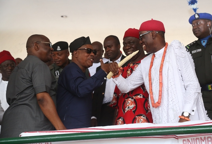 From right; Delta State Governor, Senator Ifeanyi Okowa; Deputy Senate President, Senator Ike Ekweremadu; PDP National President, Prince Uche Secondus and Governor of Rivers State, Nyesom Wike, during Anioma Nation Grand Reception in Honuor of Governor Okowa, at the Cenotaph, High Court Road Asaba.
