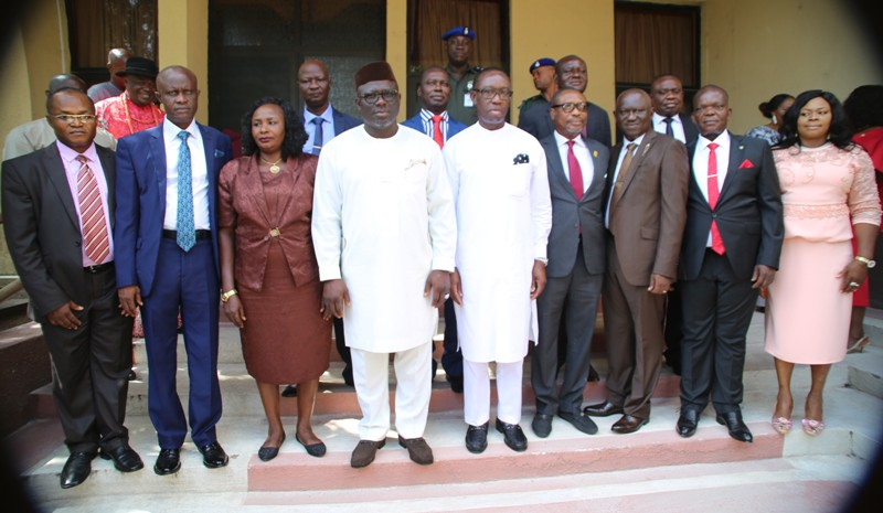 Delta State Governor, Senator Ifeanyi Okowa (5th right); Speaker of the State House of Assembly, Rt Hon Sheriff Oborevwori (4th left), in a group photograph with the newly sworn-in Permanent Secretaries, shortly after the swearing-in ceremony in Asaba.