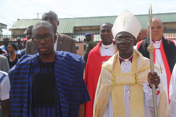 Delta State Governor, Senator Ifeanyi Okowa (left) and Bishop, Diocese of Warri, Rt. Revd Christan Ide, during the Third Session of the Twelfth Synod of Diocese of Warri, at St' Peter's Anglican Church, Ekpan