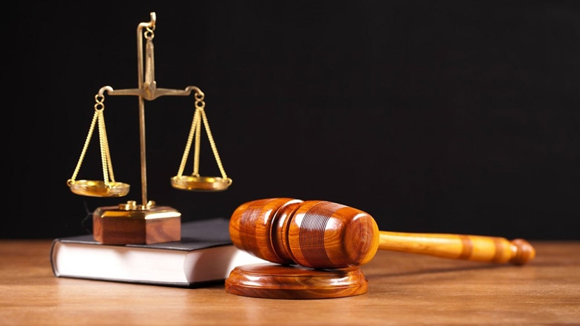 Court: Gavel, Law Book and Scale