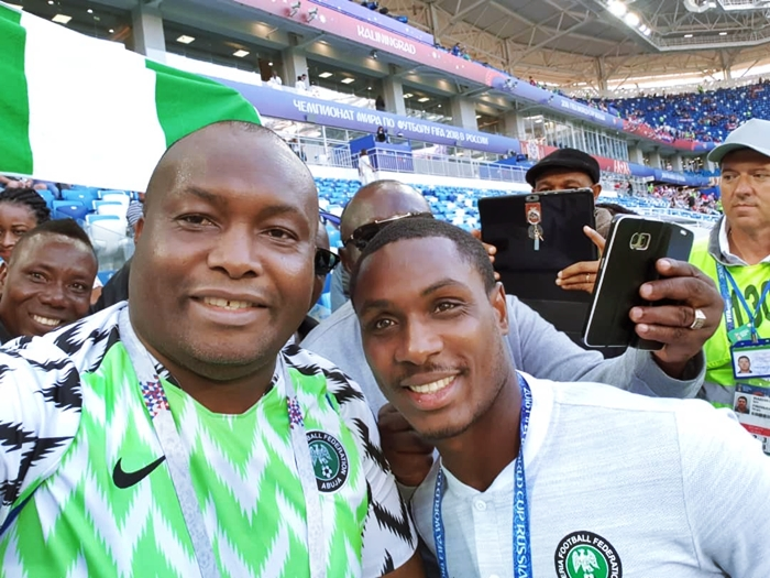 Chief Ifeanyi Ubah Drums Support Super Eagles in Russia
