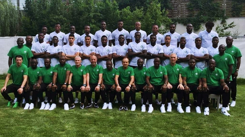 Nigeria Super Eagles with NFF Technical Team