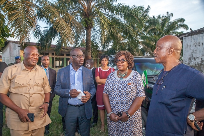 L-R: Secretary to the State Government, Osarodion Ogie Esq.; Governor Godwin Obaseki; Special Adviser to the Governor on Basic Education/Acting Chairman, Edo State Universal Basic Education Board (SUBEB), Dr. Joan Osa Oviawe, and Special Adviser to the Governor on Political Matters, Chief Osaro Idah, during the inspection of reconstruction work at College of Education, Abudu, in Orhionmwon Local Government Area, Edo State.
