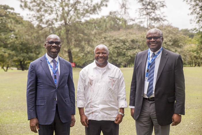 L-R: Governor of Edo State, Mr. Godwin Obaseki; Director General, International Institute of Tropical Agriculture (IITA), Dr. Nteranya Sanginga and Special Adviser to the Governor on Agriculture and Food Security Programme, Prince Joe Okogie, after a meeting with the DG at IITA, Ibadan, Oyo State, on the side-line of the International Workshop on Water-Energy-Food Systems in Sub-Saharan Africa, on Tuesday, 26 June 2018.