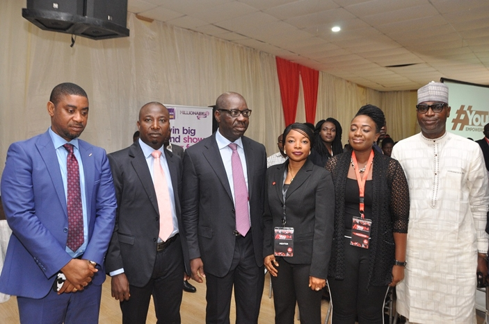 Edo State Commissioner for Wealth Creation, Cooperatives and Employment, Emmanuel Usoh; Regional Pubic Affairs Manager, East/Central, Nigeria Bottling Company (NBC) Ltd., Ekuma Eze; Governor of Edo State, Mr. Godwin Obaseki; Chief Executive Officer, Unocasq and facilitator of 'Youth Empowered', Ekundayo Odele; Regional Public Affairs and Communications Manager, Lagos/West, NBC, Ifeoma Okoye; and Commissioner for Youth and Special Duties, Hon. Mika Amanokha, at the Youth Empowered workshop organised by NBC, in Benin City.