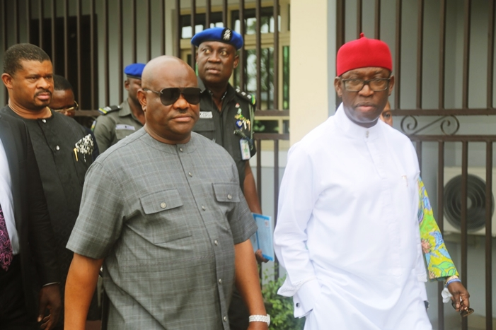 Governor of Rivers State, Nyesom Wike(left); Delta State Governor, Senator Ifeanyi Okowa (right) in Port Harcourt, Rivers State