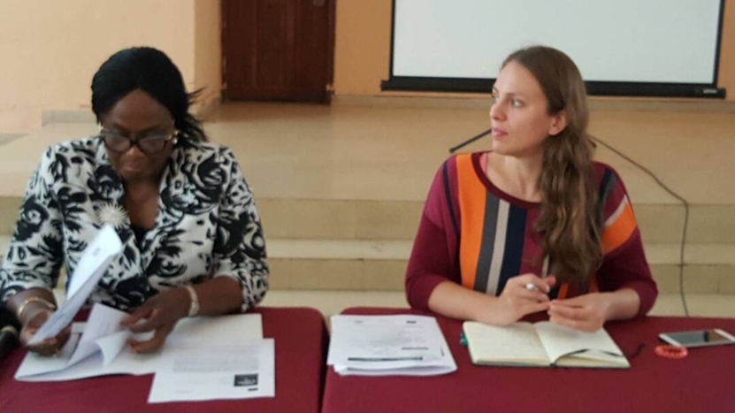 Chairman, Edo State Task Force Against Human Trafficking, Prof. Yinka Omorogbe (left); and Project Officer, International Centre for Migration Policy Development (ICMPD), Ms. Daniela Blecha, during a two-day capacity building workshop for stakeholders in the state themed: Migrant Children in Emergencies, in Benin City, on Tuesday, July 3, 2018.