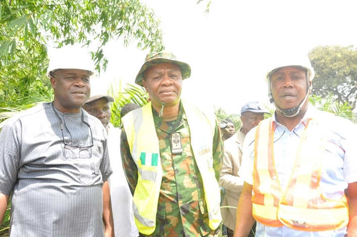 R-L: Special Adviser to Edo State Governor on Special Duties, Mr. Yakubu Gowon; Representative of Director General (DG), Nigerian Emergency Management Agency (NEMA) and Director, Search and Rescue, Air Commodore Akugbe; Chairman, Esan Central Local Government Council, Dr. Edokpa Waziri, during a visit to proposed site for an Emergency Ambulance Bay at Irrua, in Esan Central Local Government Area, Edo State.