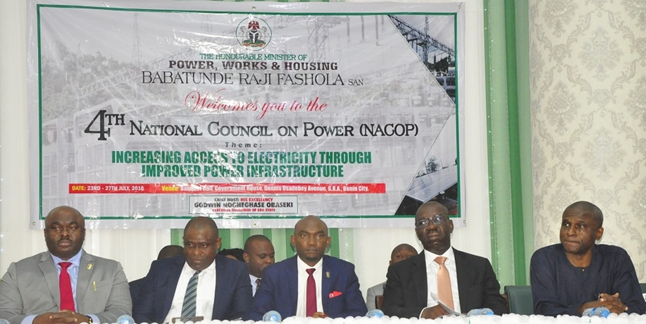 Edo State Governor, Mr. Godwin Obaseki (second right); representative of the Minister of Power, Works & Housing, and Permanent Secretary in the Ministry, Engr. Louis Edozien (right); Chief of Staff to the Governor, Chief Taiwo Akerele (middle); Commissioner for Energy and Water Resources, Hon. Yekini Idaiye (second left); and Commissioner for Arts, Culture, Tourism and Diaspora Affairs, Hon. Osaze Osemwegie-Ero, at the 4th National Council on Power, held in Benin City, on Thursday, July 26, 2018.