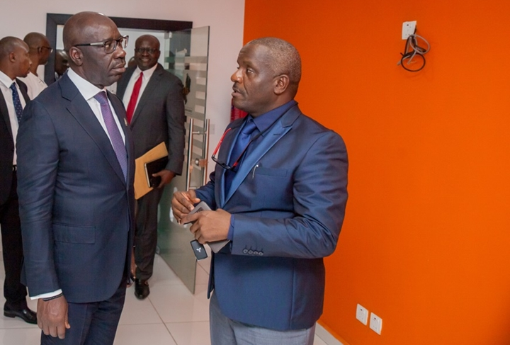 Edo State Governor, Mr. Godwin Obaseki (left); with the Managing Director, Edo Geographic Information Service (EDOGIS), Arch. Frank Evbuomwan, during the governor's inspection of Edo Geographic Information Service (EDOGIS) office in Benin City, Edo State.