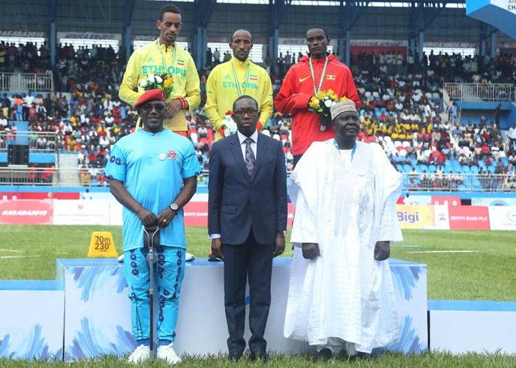 Governor of Delta State, Senator Ifeanyi Okowa (middle); the Confederation of African Athletics (CAA),Hamad Kalkaba Malboum (right) and Minister of Sport, Solomon Dalong, during the Opening Ceremony of the 21st African Senior Athletics Championship Asaba 2018.