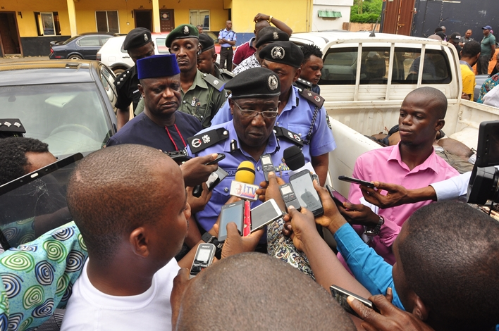 Edo State Commissioner of Police, CP Johnson Kokumo,addressing journalists at theState Police Headquarters, in Benin City, Edo State