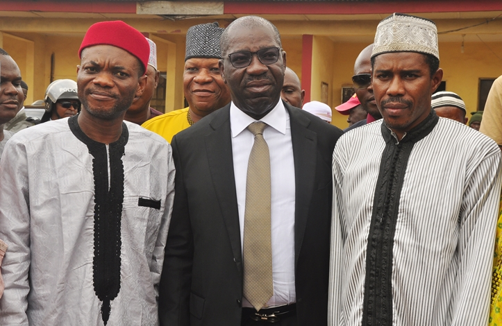 Edo State Governor, Mr Godwin Obaseki (middle); Speaker, Edo State House of Assembly, Rt. Hon. Kabiru Adjoto (left); and Chairman, Edo State Muslim Pilgrims' Welfare Board, Sheikh Ibrahim Oyarekhua; after the farewell ceremony for the 2018 intending Hajj Pilgrims, at Hajj Camp, in Benin City, on Thursday, August 9, 2018.