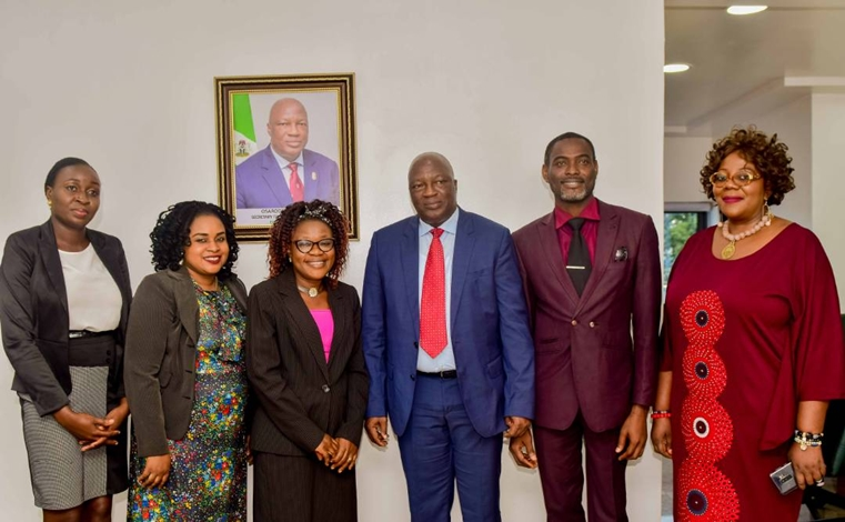 Secretary to the State Government, Osarodion Ogie Esq., (3rd right); Special Adviser to the Governor on Basic Education and Chairman-designate, Edo State Universal Basic Education Board, Dr. Joan Osa Oviawe (right), with outstanding teachers in Edo Basic Education Sector Transformation (Edo-BEST) Programme: Mr. Idehen Ejiye Isaiah (2nd right); Ms. Erhabor Osasumwen Priscillia (left); Mrs. Ogboko Edoghogho Yvonne (2nd left); and Mrs. Noragbon Enogie Osaru, at Government House, Benin City.