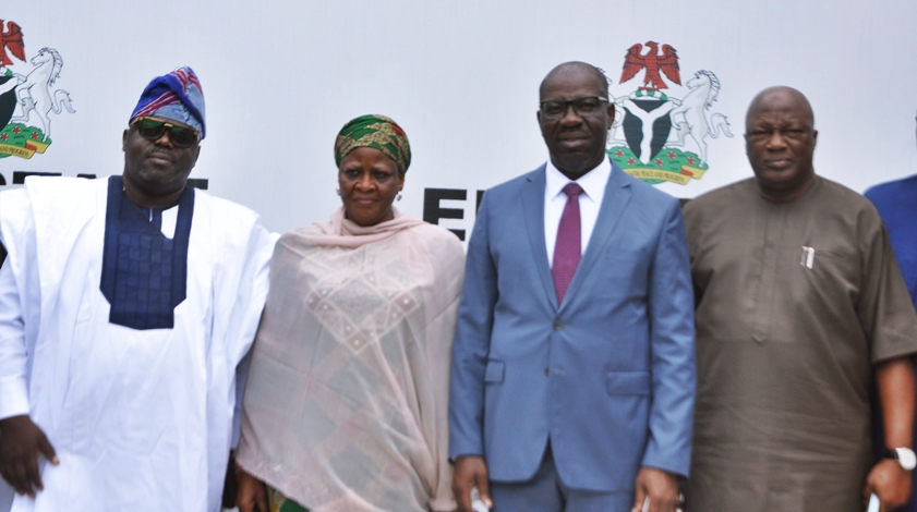 Edo State Governor, Mr. Godwin Obaseki (2nd right); Secretary to the State Government, Osarodion Ogie Esq. (right); Chairman, National Youth Service Corps (NYSC) Governing Board, Ambassador Fatima Balla Abubakar (2nd left); and Board Member, Barr. Dayo Ajibola (left), during the courtesy visit by members of the board to the governor, at Government House, in Benin City, on Tuesday, August 7, 2018.
