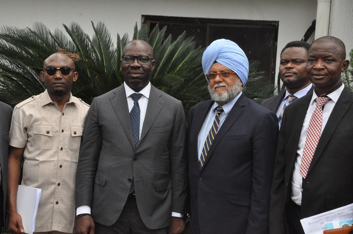 Chief of Staff to Edo State Governor, Chief Taiwo Akerele; Edo State Governor, Mr. Godwin Obaseki; Lead Financial Management Specialist, Governance Global Practice, Parminder Brar, and Senior Agricultural Economist, World Bank, Adetunji Oredipe, during a lunch with the governor at the Government House, in Benin City.