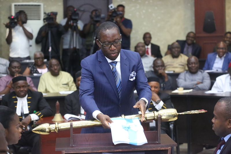 Delta State Governor, Senator Ifeanyi Okowa Presenting the 2019 Budget Estimates to the State House of Assembly, in Asaba
