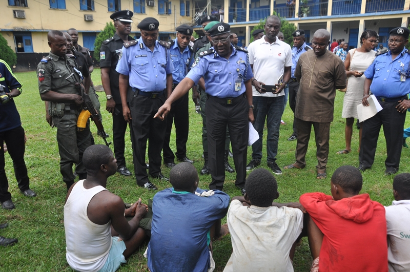 Edo State Commissioner of Police, Mr. Johnson Kokumo, parading 72 suspected Cultists, Kidnappers, Armed Robbers in Benin City, Edo State