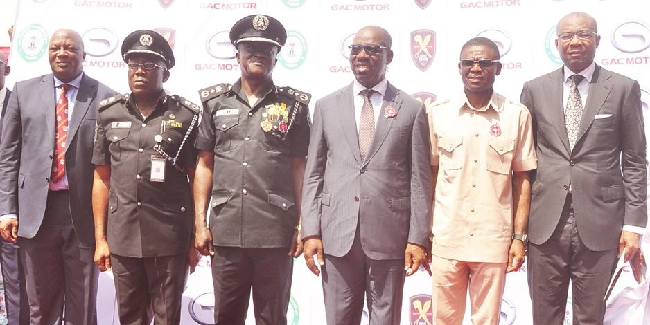Edo State Governor, Mr. Godwin Obaseki (3rd right); his deputy, Rt. Hon. Philip Shaibu (2nd right); Secretary to the State Government, Osarodion Ogie Esq. (left); Chairman, Edo State Security Trust Fund, Aigboje Aig-Imoukhuede (right); representative of the Inspector General of Police and Deputy Inspector General of Police (DIG), Emmanuel Inyang (3rd left), and Edo State Commissioner of Police, Mr. Johnson Kukomo (2nd left), at the launch of the Edo State Security Trust Fund and New Security Architecture, in Benin City, Edo State, on Monday, December 17, 2018.