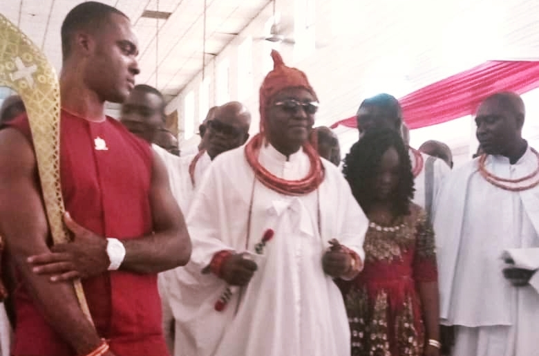 Oba Ewuare II Dancing To The Altar To Offer His Thanksgiving at Holy Aruosa Cathedral