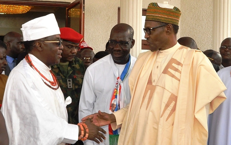 L-R: Oba of Benin, Oba Ewuare II; President Muhammadu Buhari; Edo State Governor, Mr. Godwin Obaseki; and National Chairman, All Progressives Congress (APC), Comrade Adams Oshiomhole, during President's visit to the Oba's Palace, in Benin City on Thursday, January 17, 2019.