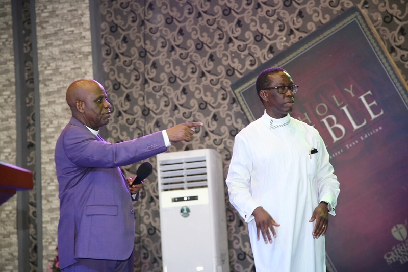 From right; Delta State Governor, Senator Ifeanyi Okowa (right) and Bishop Kingsley Enakirerhi, during the Christian and Politics Rally by the State's Chapter of Pentecostal Fellowship of Nigeria, at Hero's of Faith Church, Ughelli.