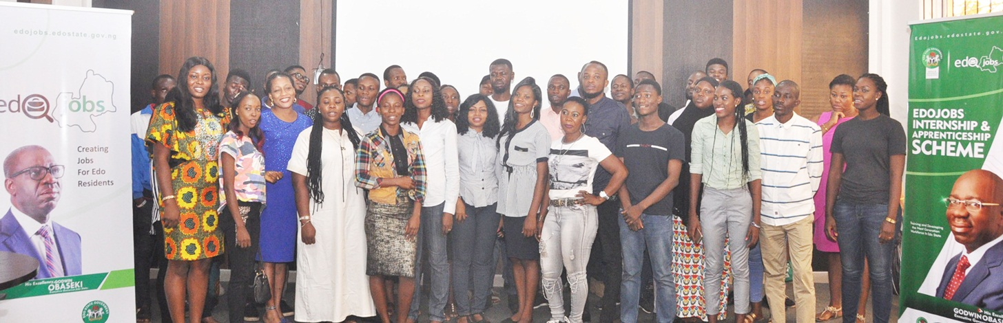 Cross-section of beneficiaries of EdoJobs Graduate Internship Scheme (GIS), during their monthly meeting at the Edo Innovation Hub in Benin City, Edo State.
