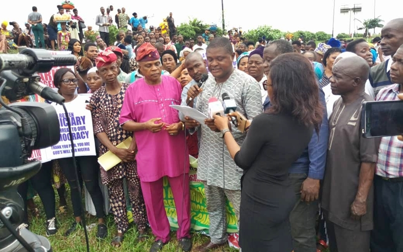 Comrade Festus Akintola, Convener of the protest Delivering their Message to the Press