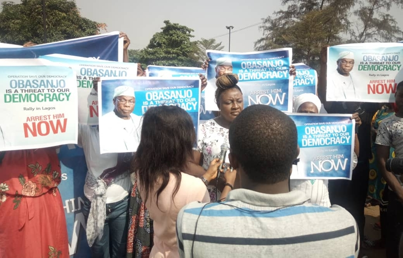Coalition for Defence of Democracy in Nigeria Protest Against Chief Olusegun Obasanjo in Lagos