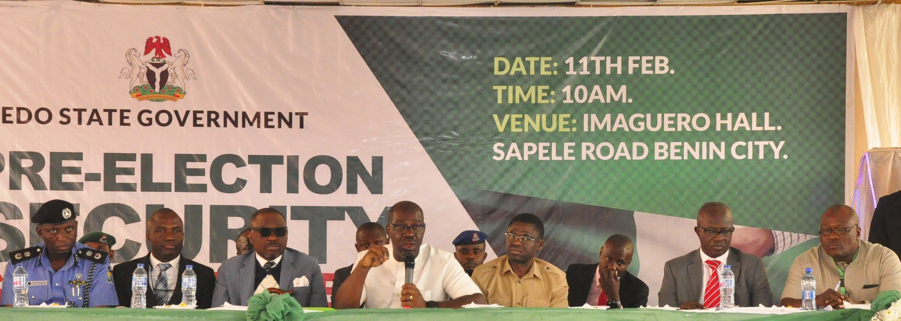 Edo State Governor, Mr. Godwin Obaseki (middle); his deputy, Rt. Hon. Philip Shaibu (3rd right); Edo State Head of Service, Mr. Isaac Ehiozuwa (2nd right); Representative of Edo State Resident Electoral Commissioner, Independent National Electoral Commission (INEC) and Head, Election and Party Monitoring, Mr Kombo Briggs (right); Deputy Speaker, Edo State House of Assembly, Hon Justine Okonobo (3rd left); Edo State Commissioner of Police, Mr. Hakeem Odumosu (left); and representative of the Office of the National Security Adviser (NSA), Lieutenant Col. Gbenga Owojaiye (2nd left), at the Pre-Election Security Stakeholders' Town Hall Meeting, themed: 'That We May Have Peaceful Election in Edo State,' which was held at Imaguero College, in Benin City on Monday, February 11, 2019