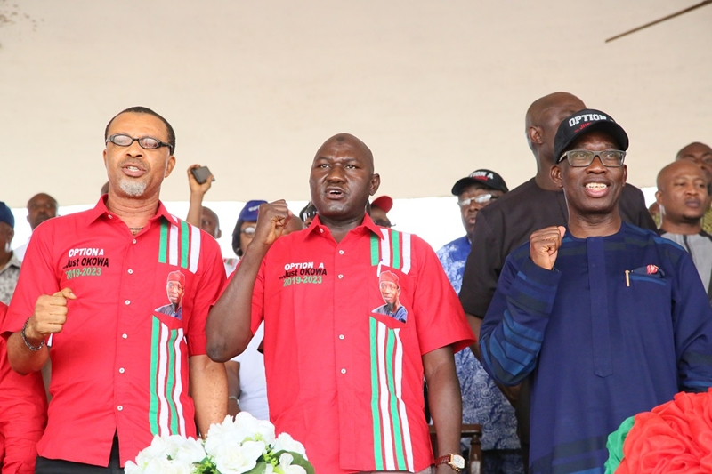 From right; Delta State Governor, Senator Ifeanyi Okowa; National President NULGE, Comrade Ibrahim Khalil and NULGE State Chairman, Comrade Zico Okwudi, at the Mega Rally Organized by NULGE in Honor of the Governor, in Asaba.