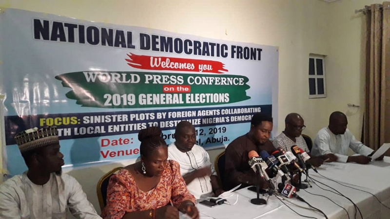 Nigeria Democratic Front Press Conference in Abuja on Wednesday, February 13, 2019.