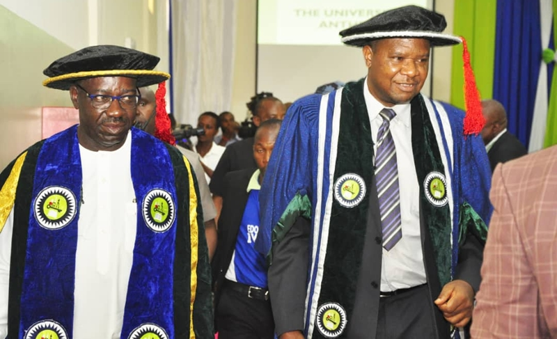 L-R: Edo State Governor, Mr. Godwin Obaseki with the Vice Chancellor, Edo University, Iyamho, Prof. Emmanuel Aluyor, during the 3rd Founder's Day Ceremony of the institution, on Saturday, March 23, 2019