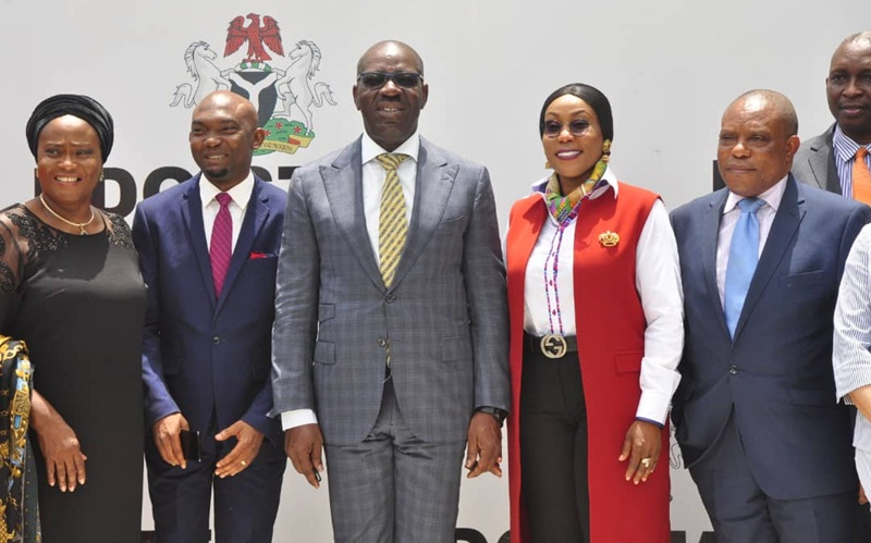 Edo State Governor, Mr. Godwin Obaseki (middle); Chief of Staff to the Governor, Chief Taiwo Akerele (2nd left); Commissioner for Justice and Attorney-General of the state, Prof. Yinka Omorogbe (left); Director-General, National Agency for the Prohibition of Trafficking in Persons (NAPTIP) Dame Julie Okah-Donli (2nd right) and Director, Research and Programme Development, NAPTIP, Mr Godwin Morka (right), during a courtesy visit by NAPTIP officials to the governor, at Government House, in Benin City, on Tuesday, March 19, 2019.