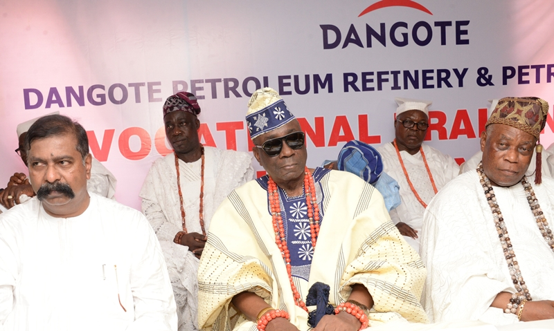 L-R: Group Executive Director, Capital Projects, Mr. D.V.G. Edwin; HRM, Oba of Lagos, Oba Rilwan Akiolu and Oloja of Epe, HRM, Oba Kamarudeen Isola Animasahun at the Vocational Training Scheme flag off ceremony organized by Dangote Oil Refinery and Petrochemicals for youths across host communities in Ibeju-Lekki, Lagos on Wednesday, March 20, 2019