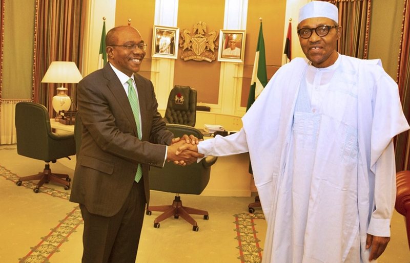 R-L: President Muhammadu Buhari Receives CBN Governor, Godwin Emefiele at Aso Rock