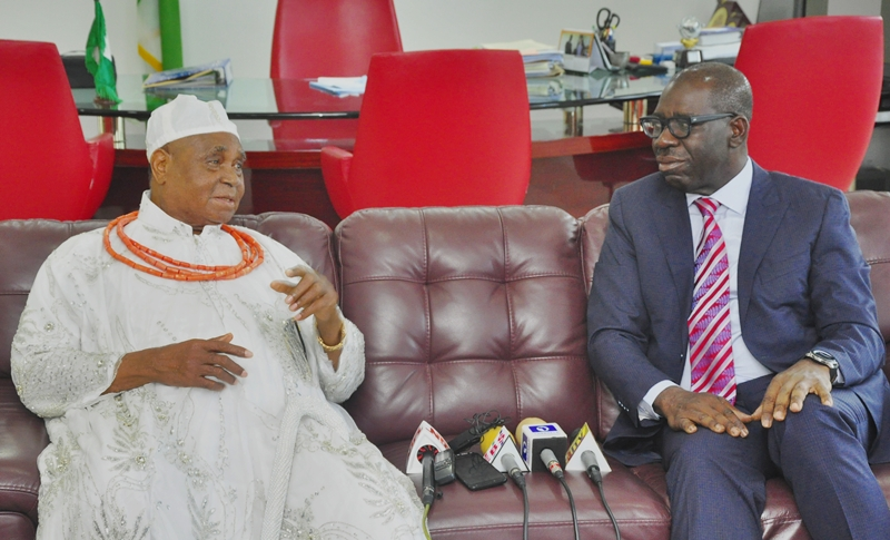 The Esama of Benin Kingdom, Chief Dr Gabriel Igbinedion (left) and Edo State Governor, Mr. Godwin Obaseki, during a courtesy visit by the Esama of Benin to the governor, at the Government House, in Benin City, on Wednesday, May 8, 2019.