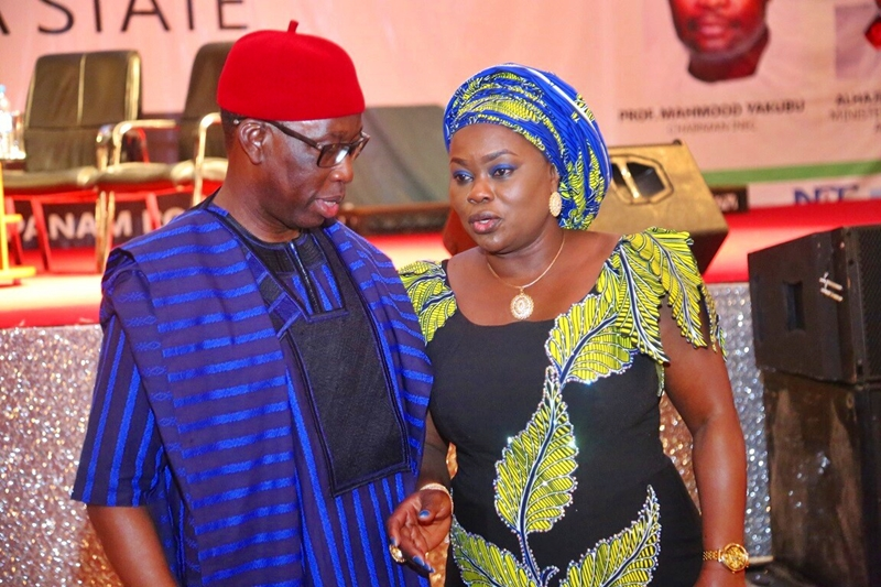 Delta State Governor, Senator Ifeanyi Okowa (left) and President of Nigeria Guild of Editors, Mrs. Funke Egbemode, during the 14th Conference of the Nigerian Guild of Editors, held in October 2018 at Asaba, Delta State