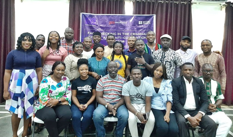 PTCIJ facilitators and participants at the training of selected journalists in the South East and South South geopolitical zones