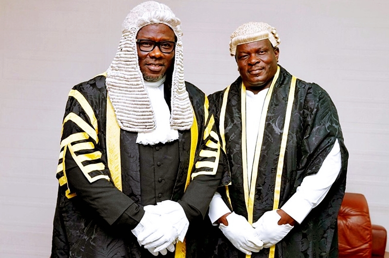L-R: Delta State Seventh House of Assembly Speaker, Rt. Hon. Sheriff Oborevwori and Deputy Speaker, Rt. Hon. Ochor Christopher Ochor