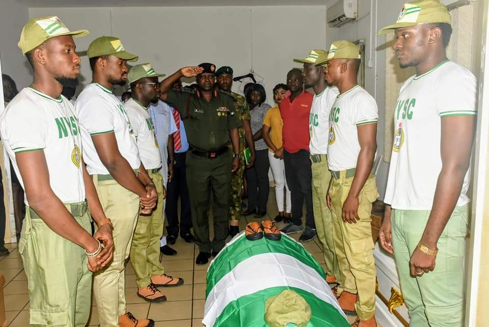 NYSC Director-General, Brigadier General Shuaibu Ibrahim Pays Respect to the remains of Late Owolabi Precious