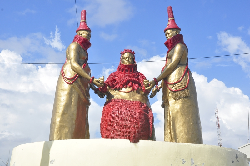 One of the major artworks at the Oba Ovonramwen Square, Ring Road, Benin City after some restorative touch, as part of preparation for the hosting of the National Festival for Arts and Culture (NAFEST) in October 2019.