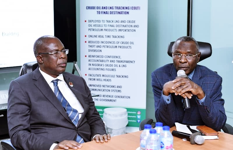 L-R: Minister of State, Petroleum Resources, Chief Timipre Sylva and Ag. Director, DPR Mr Ahmad Shakur