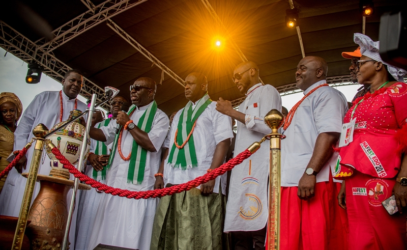 L-R:  Director-General, NCAC and President, World Craft Council, Otunba Olusegun Runsewe; Edo State Governor, Mr Godwin Obaseki; Chairman, House of Representatives Committee on Culture and Tourism, Rt. Hon. Dr. Omoregie Ogbiede Ihama; Innocent Idibia (2face), and Edo State Commissioner for Arts, Culture and Diaspora Affairs, Hon. Osaze Osemwengie-Ero, at the opening ceremony of the National Festival of Arts and Culture (NAFEST) holding in Benin City, on Monday, October 21, 2019.